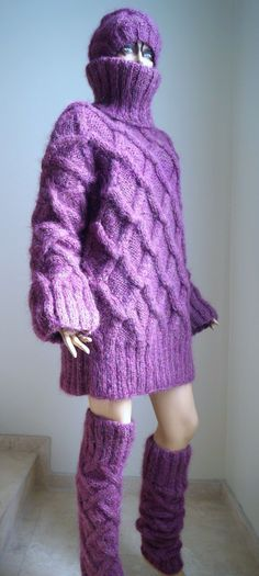 New Hand Knitted Thick Purple Unisex Mohair T Neck Sweater Cardigan Pullover   eBay