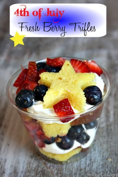 4th of july fresh berry trifles -   Yield: 10 mini trifles.  Prep Time: 30 min.  Ingredients:  One 12-ounce lemon pound cake (homemade or store bought);  4 ounces cream cheese, softened;  3 tablespoons granulated white sugar;  1 cup heavy whipping cream;  1 1/2 cups blueberries;  1 1/2 cups finely diced strawberries;  10 8-ounce plastic (see-thru) cups.