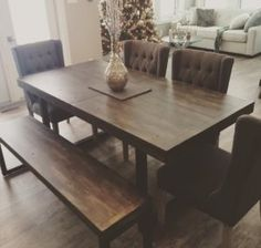 Love this idea for a dining table. Maybe different colour chairs? Modern Kitchen Tables, Modern Kitchen Design, Barn Kitchen, Kitchen Ideas, Dining Room Chairs, Dining Tables, Farmhouse Table, Modern Farmhouse, Urban Barn