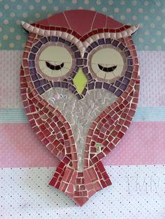 Quadro de Mosaico Coruja Angelina Pink com aplique Love. <br>Design…