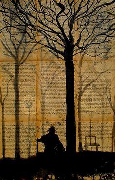 Buy 'figure in a park' by Loui Jover as a Greeting Card. Book Page Art, Book Art, Melbourne Art, Perspective Art, Dictionary Art, Australian Artists, Art Plastique, Tree Art, Female Art