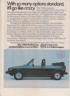 This is a must have for any classic Wolfsburg owner or vintage Volkswagen memorabilia collector. Vintage magazine ads and articles are perfect for bei Magazine Ads, Print Magazine, Vw Cabriolet, Volkswagen, Performance Engines, Thing 1, Print Ads, Going Crazy, Vintage Advertisements
