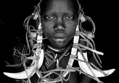 Face of Strength | Photograph by Enrique López-Tapia | A member of one of the Omo Valley tribes in southern Ethiopia.  #faces #portrait #blackandwhite #ethiopia #omovalley #tribe #africa