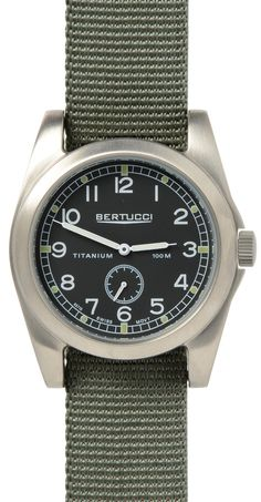 Bertucci watches are a necessity for a true adventure seeker. Known as the leader in field performance watches, the A-3T Vintage 42™ offers retro styling in a round solid titanium case. The Bertucci 1