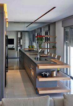 stunning modern dream kitchen design ideas and decor 11 < Home Design Ideas Luxury Kitchen Design, Kitchen Room Design, Kitchen Cabinet Design, Luxury Kitchens, Home Decor Kitchen, Interior Design Kitchen, Beautiful Kitchen Designs, Beautiful Kitchens, Küchen Design
