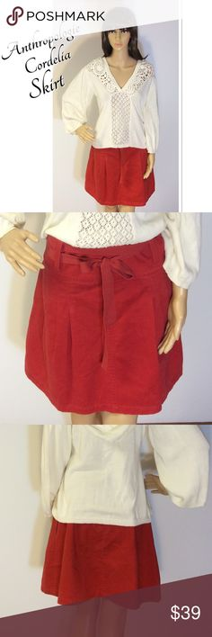 CORDELIA BY ANTHROPOLOGIE RUST COLORED SKIRT Beautiful rust colored brushed cotton skirt with a back zip a belted waist. Very soft cotton and gently used Anthropologie Skirts