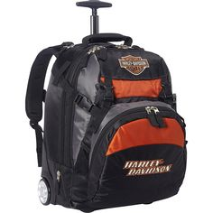 Harley Davidson Bar & Shield Wheeled Backpack - Black - Laptop... (£94) ❤ liked on Polyvore featuring bags, backpacks, black, laptop rucksack, lightweight daypack, locking backpack, light weight backpack and strap backpack