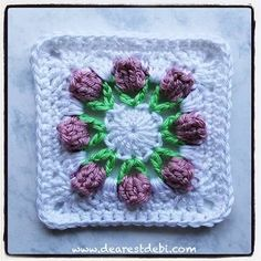 Crochet Granny Square Blankets This delicate crochet afghan squares is beautiful. Flower Bud Granny Square - Media - Crochet Me Crochet Squares Afghan, Granny Square Crochet Pattern, Crochet Flower Patterns, Crochet Granny, Crochet Motif, Crochet Flowers, Crochet Stitches, Knit Crochet, Granny Squares