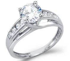 #2: Solid 14k White Gold Solitaire Round CZ Cubic Zirconia Engagement Ring 1.5ct