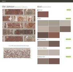 Click the gray Visit button to see the matching paint names. Exterior Paint Colors For House, Paint Colors For Home, Exterior Colors, Exterior Design, Red Brick Exteriors, Shutter Colors, Brick Colors, Roof Colors, House Trim