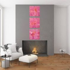 Behind the pink clouds - purple and pink triptych abstract - Ivana Olbricht Palette Knife Painting, Pink Clouds, Triptych, Mood, Abstract, Purple, Artist, Home Decor, Summary