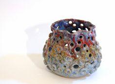 Pottery Vase Ceramic Art Vessel Coral Reef by LaurenBauschOriginal, $82.00