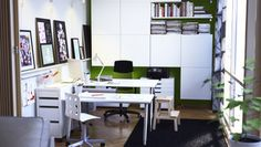 Home office with storage cabinets, tables!