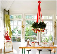 Christmas Decorating Ideas for a Cozy Family Room: Hanging Wreath with Christmas Ornaments