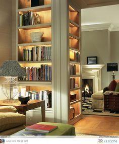 Achei essa proposta muito adequada para uma divisória inteligente e bem funcional para uma sala/biblioteca