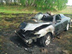Toyota Mark II на Алтае слетела с трассы и протащила столб
