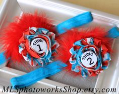 Thing1 Thing 2 Headbands - Dr. Seuss' Cat in the Hat Matching Twin Headbands - Thing One and Thing Two Birthday or Halloween Headbands on Etsy, $14.00