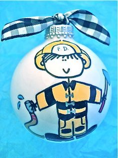 Fireman Hand Painted Personalized Ornament by HappyYouHappyMe, $14.00