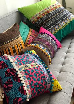 Decorative Pillows - Set of Three - Your Choice of Design / Colorful, Mexican, Boho, Gypsy, Rustic - inches 3 Decorative Pillows Set of Three Your Choice of Design / Ethnic Home Decor, Indian Home Decor, Bohemian Decor, Bohemian Style, Cushion Cover Designs, Pillow Cover Design, Cushion Covers, Diy Pillows, Decorative Pillows