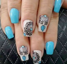 Image Image for mandala nails Fabulous Nails, Gorgeous Nails, Love Nails, Pretty Nails, Coffin Nails Matte, Acrylic Nails, Nails Polish, Gel Nails, Diy Ongles