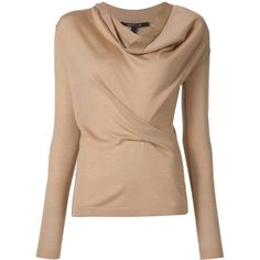 Drape Front Sweater (70.750 ARS) ❤ liked on Polyvore featuring tops, sweaters, drape front top, drape front sweater, beige sweater and beige top