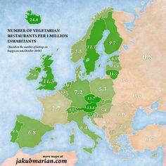Así queda el mapa con las ciudades más y menos vegetarianas del mundo