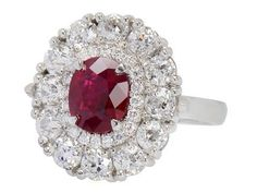 Anello Halo Diamante Rubino Burmese
