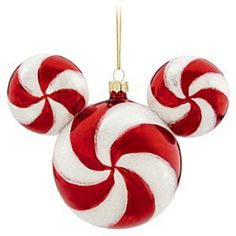 Disney Christmas Holiday Ornament - Mickey Ears Large - Peppermint~~ I just bought this one at Disneyland.It looks so great on my tree! Mickey Christmas, Christmas Candy, Christmas Balls, Holiday Ornaments, Christmas Themes, Christmas Holidays, Christmas Crafts, Disney Holidays, Ideas
