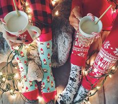 Christmas socks and hot cocoa! Perfect Christmas photo idea!