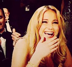 "Jennifer Lawrence. ""And then I told Peeta that I wouldn't go to the Cornucopia!"""