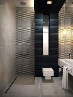Bathroom - Amazing linear minimalist styling with each area staged