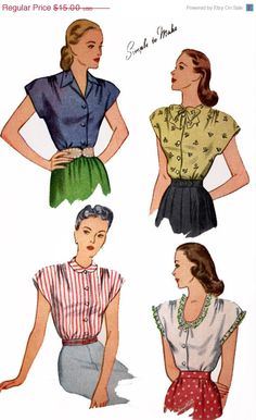 ON SALE 1940s Vintage Sewing Pattern Simplicity 1554 Womens Cap Sleeve Blouse Front Button with four Collar Variations Size 14 B32 by sandritocat on Etsy