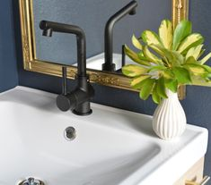 ikea faucet Ikea Kitchen Faucet, Hale Navy Benjamin Moore, Navy Paint, Ikea Mirror, Guest Bath, Guest Room, Mirror Painting, Powder Room, Home