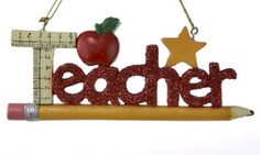 Teacher on Pencil Christmas Ornament