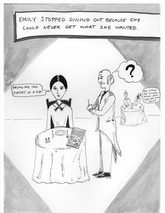 Emily Dickinson Dining Out: A Cartoon