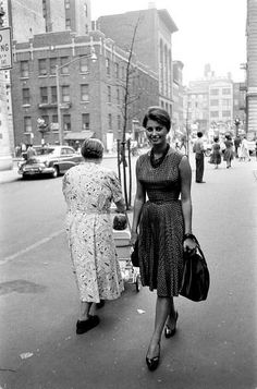 NYC. Sophia Loren (the one looking at camera…) on a visit to New York, photo by Peter Stackpole, LIFE June 23, 1958
