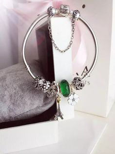 50% OFF!!! $219 Pandora Charm Bracelet Green White. Hot Sale!!! SKU: CB01803 - PANDORA Bracelet Ideas