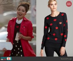 Beth's lips print sweater on Chasing Life.  Outfit Details: http://wornontv.net/46648/ #Uncategorized