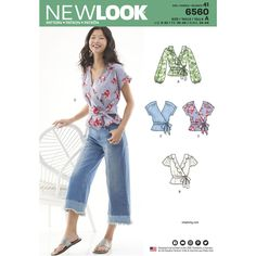 These on-trend ruffle tie-waist shirts for Misses feature a real wrap design with sleeve variations. Can be made with or without a ruffle neckline, and pattern pieces are included to create the tie belt. Find this New Look sewing pattern at Simplicity.com.