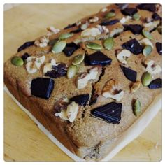Buckwheat with banana and dates bread. Topped with walnut, pumpkin seeds and 99% dark choc.