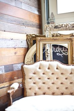 Reclaimed wood + vintage chair | iOn Solid Ground Vintage Rentals | Inspired by Heather