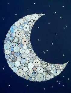 Button rhinestone sequin embellishment crescent moon art