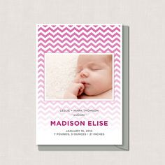 CHEVRON Birth Announcement Personalized  - PRINTABLE PDF