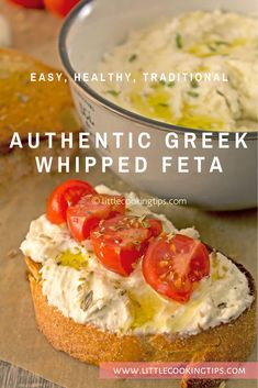 An authentic, traditional recipe for Greek whipped feta. Known as tyrosalata in . Tonic East healthy appetizer recipes An authentic, traditional recipe for Greek whipped feta. Known as tyrosalata in Greece, this popular feta spread is Healthy Eating Tips, Clean Eating Snacks, Healthy Recipes, Appetizer Recipes, Appetizers, Feta Cheese Recipes, Whipped Feta, Skin Care Routine For 20s, Greek Dishes