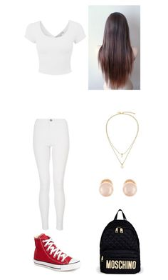 """Outfit for FRiday"" by mayawhite04 ❤ liked on Polyvore featuring moda, Converse, Quiz, Kate Spade, Kenneth Jay Lane e Moschino"