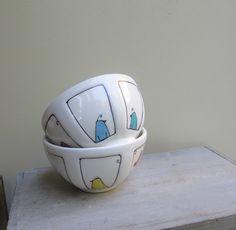 Ceramic blue bird bowl colorful spring rainbow by catherinereece, $22.00
