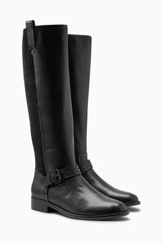 Buy Black Signature Material Mix Leather Long Boots from the Next UK online shop