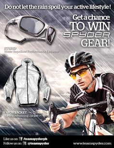 Do not let the rain spoil your active lifestyle! Join the raffle for a chance to win amazing stuff perfect for rainy days from Spyder Philippines :)