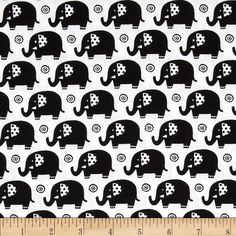 Michael Miller Rouge Et Noir Mini Elephants White from @fabricdotcom  From Michael Miller, this cotton print is perfect for quilting, apparel and home decor accents. Colors include black and white.