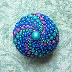 Jewel Drop Mandala Painted Stone- Cosmic Collection- Galaxy Mandala Stone